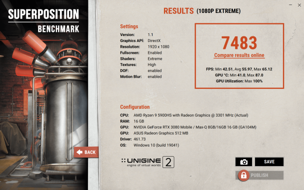 ROG Flow X13 with 3080 Superposition Benchmark